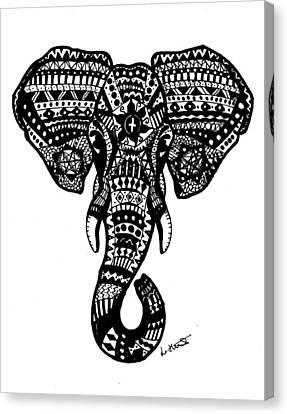 Aztec Elephant Head Canvas Print by Loren Hill