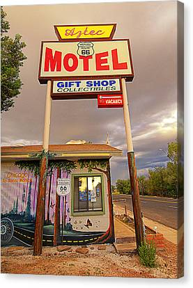 Aztec Motel On Route 66 Canvas Print by Ron Regalado