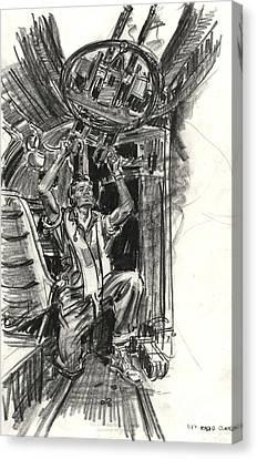 B-17 Radio Gunner 1942 Canvas Print by Padre Art