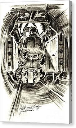 B-17 Tail Gunner 1943 Canvas Print by Padre Art