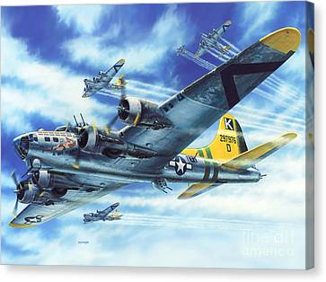 Air Force Canvas Print featuring the painting B-17g Flying Fortress A Bit O Lace by Stu Shepherd