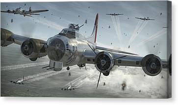 Air Force Canvas Print featuring the digital art B-17g Hikin' For Home by Robert Perry