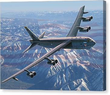 Air Force Canvas Print featuring the painting B-52 Stratofortress  America's Backbone by Stu Shepherd