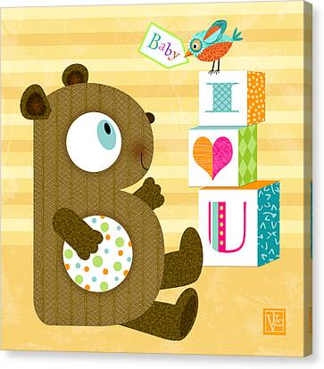 B Is For Baby Bear Canvas Print by Valerie Drake Lesiak