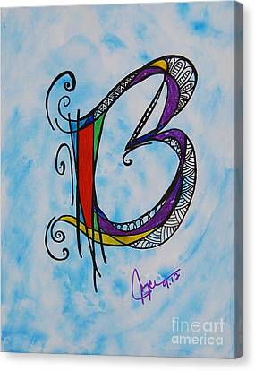 'b' Monogram Canvas Print by Joyce Auteri