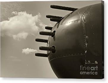 B25 Mitchell Bomber Airplane Nose Guns Canvas Print by M K  Miller