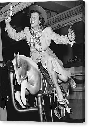Babe Didrikson On Sidesaddle Canvas Print by Underwood Archives