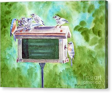 Baby Blues - Eastern Bluebird Family Canvas Print by Kathryn Duncan