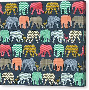 Baby Elephants And Flamingos Canvas Print by Sharon Turner