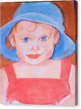 Baby In Blue Hat Canvas Print by Christy Saunders Church