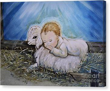 Baby Jesus Little Lamb Canvas Print by Nava Thompson