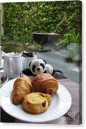 Baby Panda And Croissant Rolls Canvas Print by Ausra Huntington nee Paulauskaite