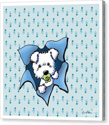 Baby Westie Blast Canvas Print by Kim Niles