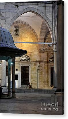 Back Lit Interior Of Mosque  Canvas Print by Imran Ahmed