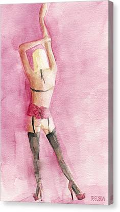 Back Of Woman In Lingere Art Print Canvas Print by Beverly Brown Prints