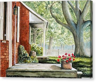 Back Porch Geraniums Canvas Print by John W Walker