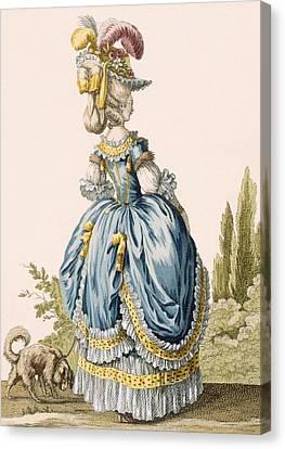 Back View Of A Ladys Gown, Engraved Canvas Print by Claude Louis Desrais