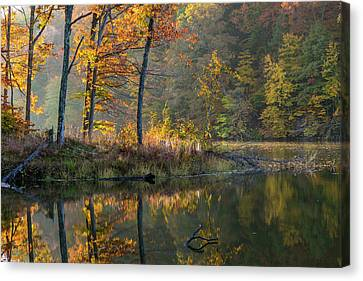 Backlit Trees On Lake Ogle In Autumn Canvas Print by Chuck Haney
