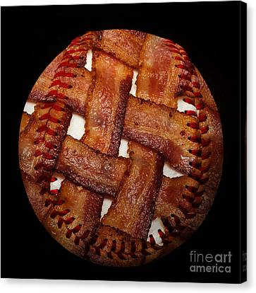 Bacon Weave Baseball Square Canvas Print by Andee Design