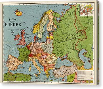 Bacon's Standard Map Of Europe - Circa 1920 Canvas Print by Blue Monocle