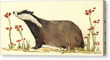 Badger And Flowers Canvas Print by Juan  Bosco