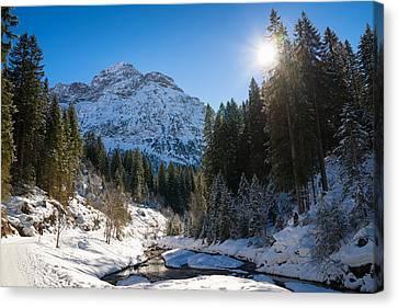 Baergunt Valley In Kleinwalsertal Austria In Winter Canvas Print by Matthias Hauser