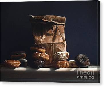 Bag Of Donuts Canvas Print by Larry Preston
