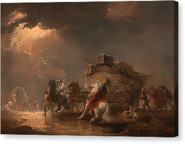 Baggage Wagons In A Thunderstorm Canvas Print by Mountain Dreams