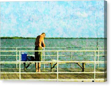 Baiting The Hook Canvas Print by Florene Welebny