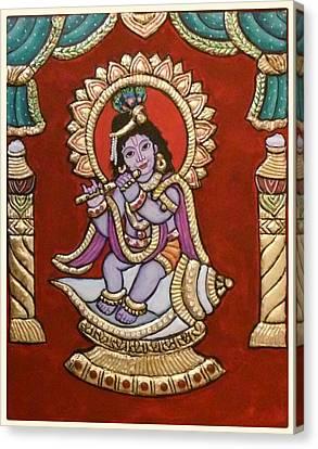 Bal Krishna On Shankh Canvas Print by Vimala Jajoo