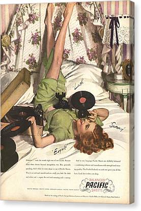 Balanced Pacific Sheets 1940s Usa Canvas Print by The Advertising Archives