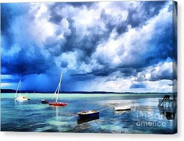 Balaton Lake View Canvas Print by Odon Czintos