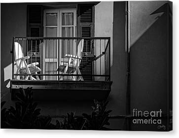 Balcony Bathed In Sunlight Canvas Print by Prints of Italy