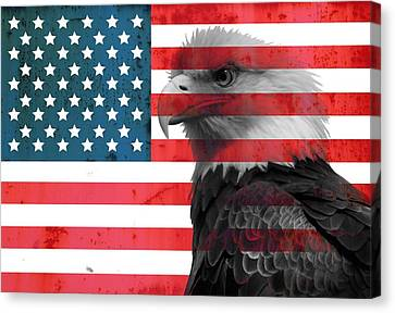 Bald Eagle American Flag Canvas Print by Dan Sproul