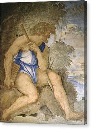 Baldassare Peruzzi 1481-1536. Italian Architect And Painter. Villa Farnesina. Polyphemus. Rome Canvas Print by Baldassarre Peruzzi