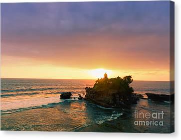 Bali Tanah Lot Temple At Sunset Canvas Print by Fototrav Print