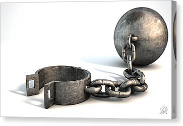 Ball And Chain Isolated Canvas Print by Allan Swart