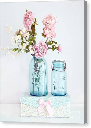 Roses In Ball Jars Aqua Dreamy Shabby Chic Floral Cottage Chic Pink Roses In Vintage Blue Ball Jars  Canvas Print by Kathy Fornal