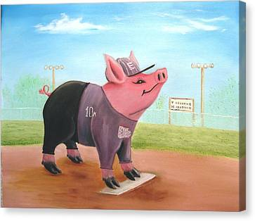 Ball Pig With Attitude Canvas Print by Bobby Perkins