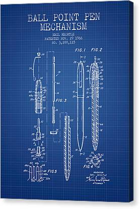 Ball Point Pen Mechansim Patent From 1966 - Blueprint Canvas Print by Aged Pixel