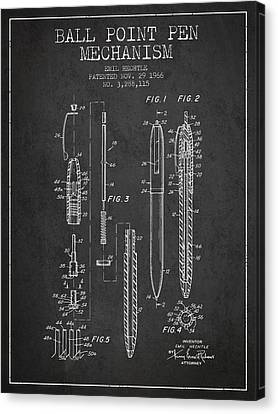 Ball Point Pen Mechansim Patent From 1966 - Charcoal Canvas Print by Aged Pixel