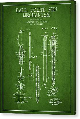 Ball Point Pen Mechansim Patent From 1966 - Green Canvas Print by Aged Pixel