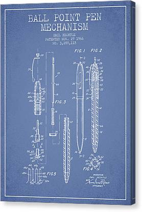 Ball Point Pen Mechansim Patent From 1966 - Light Blue Canvas Print by Aged Pixel