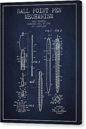 Ball Point Pen Mechansim Patent From 1966 - Navy Blue Canvas Print by Aged Pixel