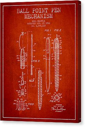 Ball Point Pen Mechansim Patent From 1966 - Red Canvas Print by Aged Pixel