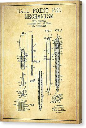 Ball Point Pen Mechansim Patent From 1966 - Vintage Canvas Print by Aged Pixel