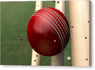 Ball Striking Wickets Canvas Print by Allan Swart