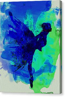 Ballerina On Stage Watercolor 2 Canvas Print by Naxart Studio