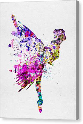 Ballerina On Stage Watercolor 3 Canvas Print by Naxart Studio