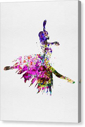 Ballerina On Stage Watercolor 4 Canvas Print by Naxart Studio